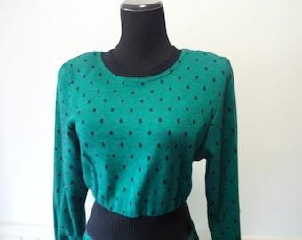 Vintage All That Jazz Green Polka Dot Dress 1980s