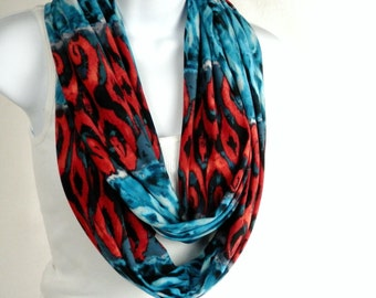 Silky Jersey Knit Infinity Scarf Fire Red and Turquoise Blue Water Island Batik Print Double Loop Extra Long Infinity Scarf by Thimbledoodle