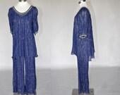Adrasteia blue gauze pant set | vintage 70s palazzo pants with matching shirt | gold thread detail s/m/l