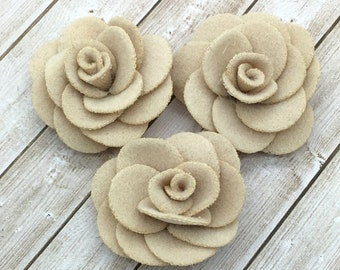 """Small Beige Fabric Flowers, Tiny felt Roses, 1.5""""  Roses, Soft baby vintage rose flowers, baby headband flowers, wholesale, supplies, DIY"""