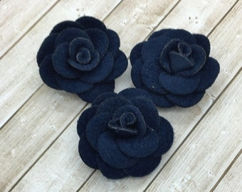 """Small Navy Fabric Flowers, Tiny felt Roses, 1.5""""  Roses, Soft baby vintage rose flowers, baby headband flowers, wholesale, supplies, DIY"""