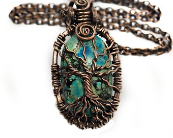 Natural Turquoise tree of life pendant, natural bare copper