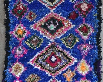 "155X100 cm 5'1"" x 3'3""       FREE SHIPPING worldwide  T32092 boucherouite , boucharouette,  moroccan rugs , berber rugs, morocco carpets"