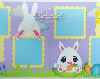 2 Premade Easter Treats Bunny Eggs Scrapbook Pages 12x12 Layout Paper Piecing Handmade 45