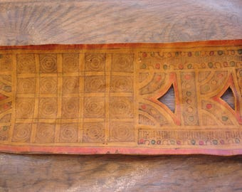 Niger Tuareg large camel leather  rectangular tarnished piece with hand painted design