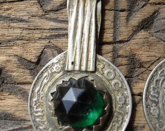 Moroccan green jewel tarnished 10 franc coin pendant with plain light gold colour  loop/bail