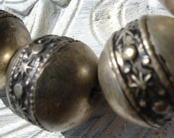 Moroccan  tarnished silver colour small star sun and moon round ornate bead