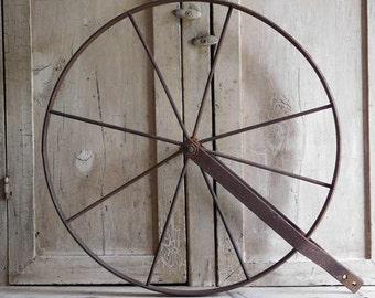 Primitive Antique Metal Wheel, Push Plow Cultivator Spoke Wheel