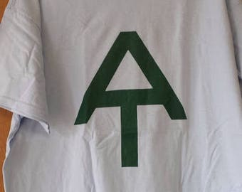 Hand screen printed Appalachian Trail T-Shirt Large; forest green on Light Blue
