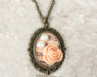 Beige Rose with faux pearl and music note Vintage steampunk Bronze tone Neckalce
