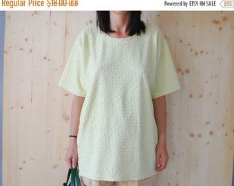 SALE Terrycloth yellow top Oversized Blouse rhombus TSHIRT VINTAGE 90'S