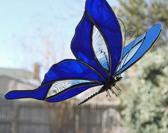Stained Glass Butterfly Suncatcher - Iridescent Blue and Textured Clear