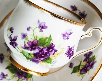 Phoenix Teacup and Saucer with Violets / Vintage Tea Cup and Saucer
