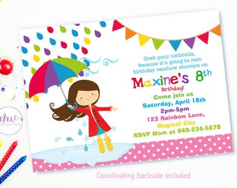 April Showers Birthday Invitation, Rainbow Showers Birthday Invite, Girl April Showers Birthday Invite-Digital File You Print