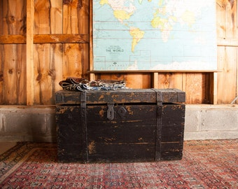 DISCOUNTED Antique Primitive Black Wooden Trunk