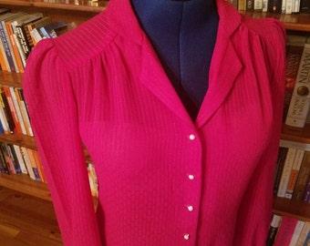 SECRETARY--Sweet 1980s Hot Pink Blouse--S