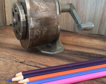 Retro  metal handcrank pencil sharpener
