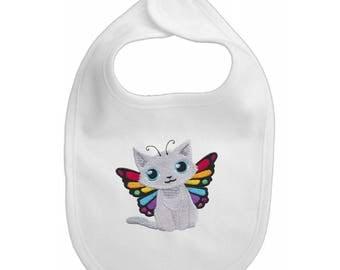 Butterfly fairy kitten  Embroidered Baby Bib