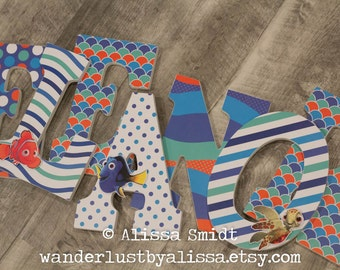Finding Nemo Letters - Custom Letters, Wooden Nursery Letters  (Finding Nemo, Dory, sea turtle) 9 inch
