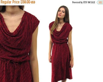On Sale - 70s Velvet Dress, Cowl Neck Dress, Chevron Dress, Boho Dress, Drape Dress Δ size: sm / md