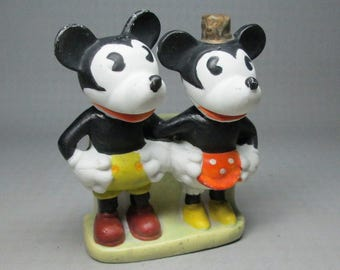 Mickey and Minnie Mouse toothbrush holder , looks like 1930's to me , c. Walt E Disney Made In Japan C-100