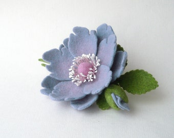 Felted brooch pin lavender lilac flower and flower bud with green leaves, ready to ship