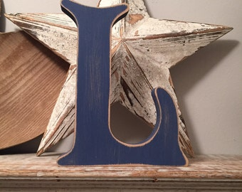 Wooden letter l etsy for Standing wood letters to paint