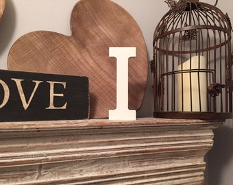 Hand-painted Wooden Letter I - Freestanding - Rockwell Font - Various sizes, finishes and colours