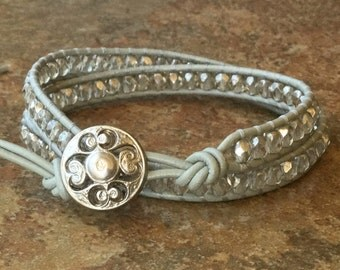 Leather Wrap Bracelet, Grey Leather Wrap, Boho Chic, Free Shipping