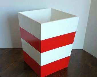 Red Waste Basket - Garbage Basket - Garbage Can - Waste Basket - Red Garbage Can - Striped Waste Basket - Bathroom Decor -Horizonal Trashcan