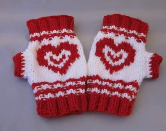 Hand-knitted Fingerless Gloves Mittens Arm Warmers with Hearts ornamen. Valentines Day Gift. Gift Ideas. Great gift for a someone special.