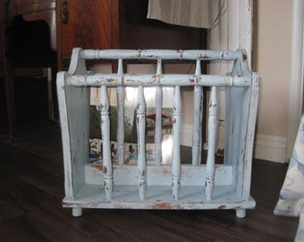 Farmhouse Shabby Chic Wood Magazine Rack -  Rustic Cottage - French Country Blue