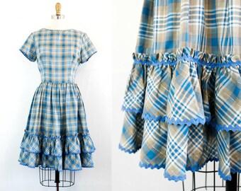 Vintage 1950s dress . Winter Fling . blue plaid day dress . 1950s plaid dress by Mode O Day . md