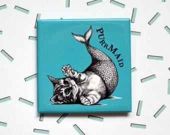 "Purrmaid Magnet, Mermaid Cat, Mercat, Kittyfish, 2"" Square Metal Fridge Magnet, Hybrid Animals, Portland OR, Unique Cat Gift"