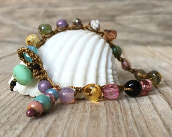 Hippie Chic - artisan boho - everyday wrap boho - yoga boho - boho bracelet - boho wrap bracelet