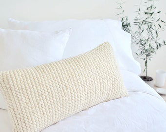 Chunky Knit Cushion | Hand Knit Wool Cushion Pillow Cover | IVORY CREAM | 30x60cm/12x24""