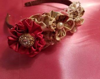 Shabby Chic Satin and pearl headband.