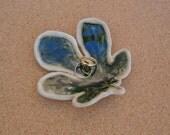 Fig leaf ring dish - Ceramic spoon rest - Handmade Green tlight holder - Leaf home decor