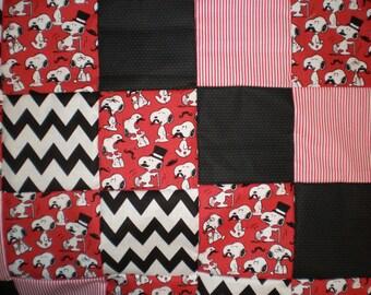 Moustache Snoopy Patchwork Quilt