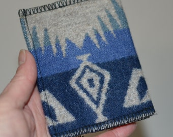arrow wallet Native American navy and grey simple wallet made of blanket weight wool from Oregon slim wallet mens wallet womens wallet