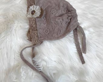 Newborn Baby Bonnet, Newborn Photography Prop, Soft Taupe Lace Bonnet with Attached Flower, Baby Girl Bonnet