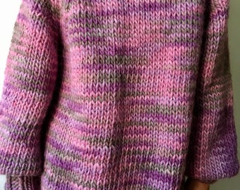 Chunky Hand Knitted Wool Jumper Sweater. 100% Peruvian Wool. Ready to Ship