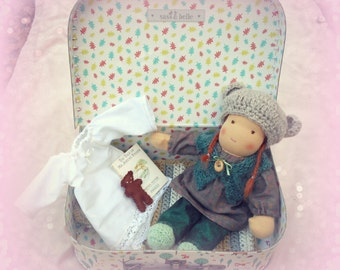 "Bedtime box, suitcase doll, 10"" Waldorf doll, Lucy, ginger hair made with all natural materials"