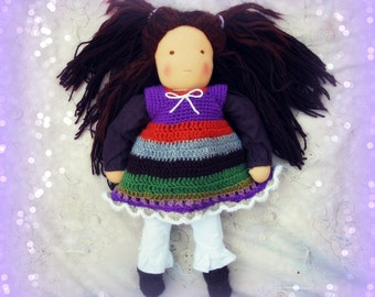 "Pure wool, crocheted doll's dress, to fit a 16"" Waldorf doll, twirly, stripy"