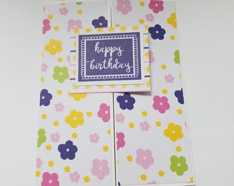 Handmade Birthday Card,  for girl, flowers, birthday wishes, party time, celebrate, gatefold birthday card