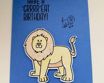 Birthday card for little boy, masculine birthday card, lion, birthday wishes, blue card