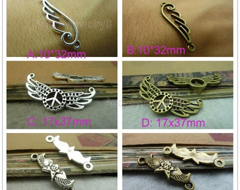30pcs of Double hole Heart Wing Angel Charms Connector, Peace symbol,Five-star connection,bracelet, necklace connection pendant