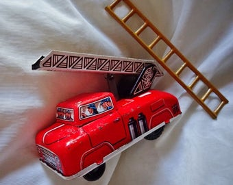 Vintage Tin Toys, Old Fire Tender, Vintage Fire Engine, Collectors Toys, Toy Fire Engine,, Not For ChildrenToy Fire Tender, Firemen
