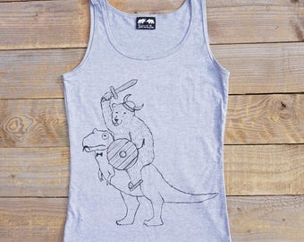 Bear and Dinosaur Vest - women's bear vest -T-Rex cool vest bear tank top - gift for her