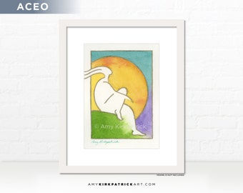 Blue Sky Figure Painting, Original ACEO Watercolor Painting, Dreamer Art, Miniature Sun Painting, ACEO ATC Original, Blue Sky Dreamer